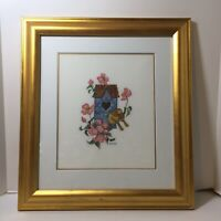 "Birdhouse Birds Flowers Finished and Framed Cross Stitch 17"" x 18.5"""