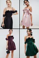 ASOS™ DESIGN $110 Strappy Ruffle Scuba Prom Mini Dress - Black/Green/Blush