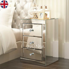Mirrored Clear Furniture With 3 Drawers Glass Bedside Cabinet Table Bedroom Home