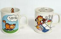 Vintage Garfield 1978 Coffee Mugs Set of 2  Enesco, Jim Davis, Cat Mom Jog
