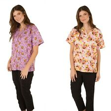 Nickelodeon Nursing Pediatric Character Scrubs Shirt Top Patch Pockets 2 Prints