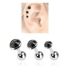 LOT 3 Pack Ear Cartilage Helix Tragus BLACK CZ Stud Ring Surgical Steel 16G