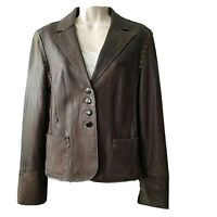 Rizal Womens  Leather Jacket brown collar button down pockets sz 2-4 S