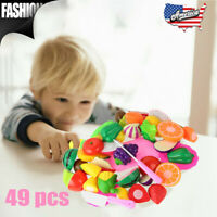 49PC Cut Fruit And Vegetable Kitchen Set Pretend To Play Children's Kids Toy