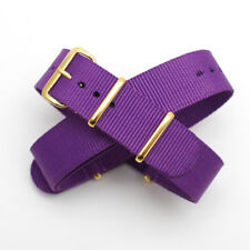 Purple  Nato / Nylon Watch Strap: Gold Buckle / Keepers: 18mm or 20mm (FL202)