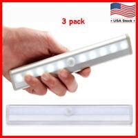 3 Pack 10 LED Motion Sensor Light Night Cabinet Closet Battery Powered Portable