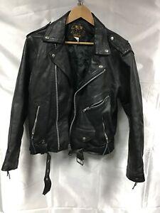 """Mens Black Leather Vintage Jacket 40""""  M&W Real Leather Biker Rock Punk"""