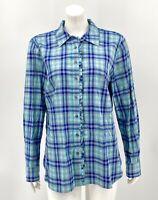 Talbots Women's Tunic Top Medium Blue Plaid Ruffle Button Front 100% Cotton