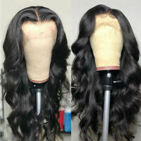 US Pre Plucked Remy Indian Human Hair Wig Lace Front Wigs Loose Body Wavy Thick