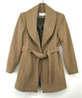 Calvin Klein Womens Tan Button & Tie Front Wool Blend Winter Coat Split Hem 4