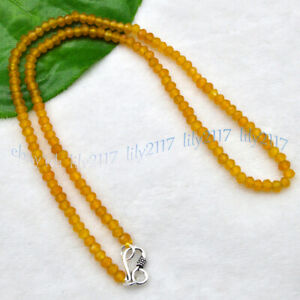 2x4mm Natural Yellow Topaz Faceted Gemstone Roundel Beads Necklace Silver Clasp