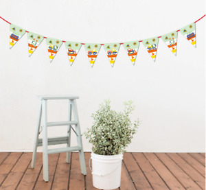 Construction Vehicles Bunting Banner Flags Party Decorations