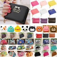 Women Girl Cute Animal Coin Wallet Key Purse Hasp Zip Clutch Card Holder Handbag