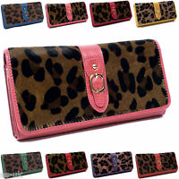 Womens / Ladies Genuine Leather Leopard Purse / Wallet -- NEW -- Gift Boxed