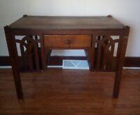 Antique Oak Library Table Mission Arts and Crafts Desk Quartersawn Oak