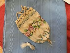 Antique Micro Beaded Floral Reticule Drawstring Bag Purse