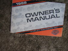 1988 Harley Davidson Motorcycle Owner Manual Touring Custom XLH 1200 883  V