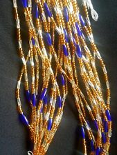 gold , blue and glass silver. African Waist Beads 3 strands pea set