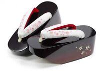 Japanese Maiko Geta Koppori Sakura Embroidered White Sandal Strap Japan Tracking