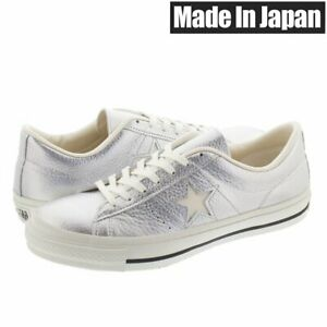 CONVERSE ONE STAR J METALLIC LEATHER SILVER 35200150 Made in Japan US9.5