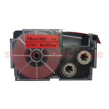 """Casio Compatible XR-18RD Black on Red 18mm 8m Label Tape 3/4 x 26""""  XR-18RD1"""