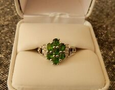 1.43ct Size 8 Natural Chrome Diopside & White Topaz Sterling Silver Ring