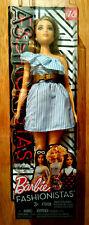 Barbie Doll Fashionistas MATTEL #76 blonde robe bleues ceinture fauve