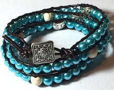 Three Wrap bracelet Beaded Leather Artisan Boho cuff czech pearls beads handmade