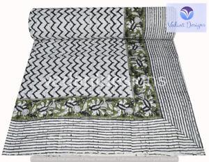 Indian Handmade Floral Kantha Quilt Reversible Bedspread Queen Cotton