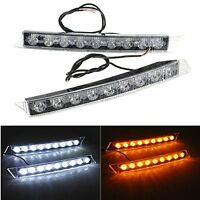 2X 9LED Car DRL Light Daytime Turn Signal White / Yellow LED Lamp