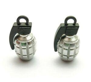 2x Silver Grey Grenade Quality Alloy Valve Dust Caps Cars motorbikes BMX Bike