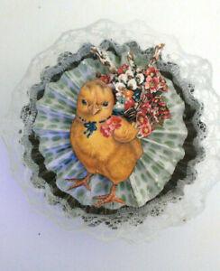 EASTER Spring altered art Metal Tart Tin lace vintage Chick OOAK