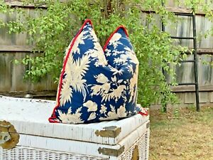 Cotton Navy Blue Cushion Cover Canvas Bed Home Decorative Throw Pillow Case 50cm