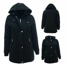 New 10 - 28 Black Long Jacket Hood Coat Warm Lined Ladies Plus Size Parka *LICK*