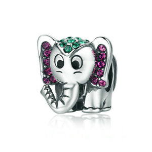 New Silver Elephant European Cz Charm Crystal Spacer Beads Fit Necklace Bracelet