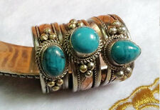 Adjustable Solid Tibetan 3-color Copper Oval Turquoise Gemstone Dotted Ring