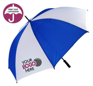 Golf Umbrella Personalised and Custom Printed with Logo or Photo - Blue & White