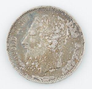1869 Belgium 5 Francs Natural Toned, About Uncirculated  KM24
