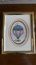 Framed Beaded Cross Stitch BREEZY DAY Hot Air Balloon Baby Nursery JCA 13x10 New