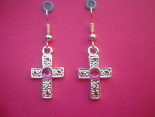 FUNKY HOT PINK SILVER CROSS EARRINGS KITSCH CUTE RETRO RHINESTONE CHARM  GIFT