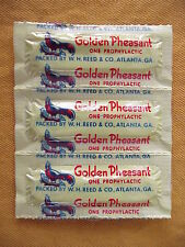 NEW OLD STOCK VINTAGE GOLDEN PHEASANT CONDOMS / RUBBERS  STRIP OF 3