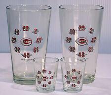 Cincinnati Reds Four Piece Glassware Set -  2 Beer & 2 Shot Glasses
