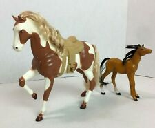 "Vintage H. G. Toys Palomino Brown & White Plastic Horse 7"" Tall 1988 Saddle #20J"