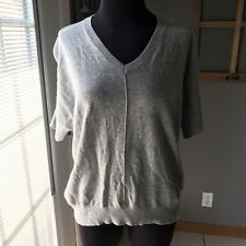 Topshop Gray Women's Short Sleeve V Neck Thin Knit Cashmere Wool Sweater 8