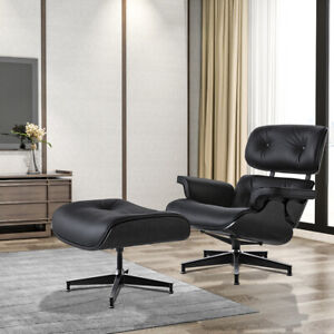Ebony Black EAMS Lounge Chair And Ottoman Real Italian Leather Armchair Recliner
