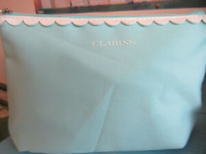 Lovely baby blue CLARINS make-up bag with faux leather trim 24cm x 16cm x 6cm