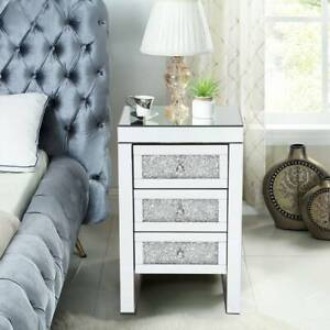 Sparkling Mirrored Glass 3 Drawers Crushed Crystal Diamond Bedside Cabinet Table