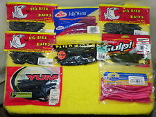 NEW JELLY WORMS,BIG BITE BAITS,GULP GREEN,HR TACKLE BUBBLE GUM,YUM FEROCITY,SET6