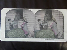 "c.1895 DELIGHTFUL COLOUR 3d STEREOGRAPH/ STEREOGRAM PHOTO "" Doing the chores"""