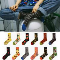 1 pair  Flower Bird Socks Unisex Cotton Paar Socken Kontrastfarbmuster Socken